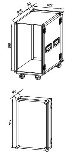 "Dimensiones flight case standard 19"" 20 UR"